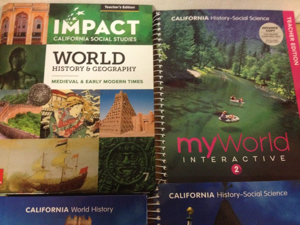 UPDATE ON NEW TEXT BOOKS FOR CALIFORNIA SCHOOLS 2018